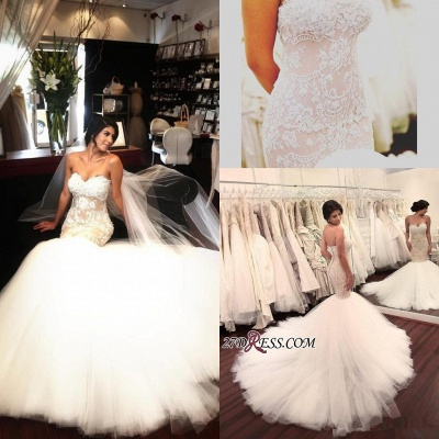 Lace-Appliques Tulle Sleeveless Sweetheart Sexy Mermaid Delicate Wedding Dress_2