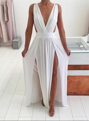 Elegant White Sleeveless Prom Dress UK Deep V-Neck Long Chiffon BA6967_1