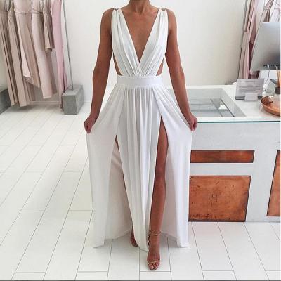 Elegant White Sleeveless Prom Dress UK Deep V-Neck Long Chiffon BA6967_3