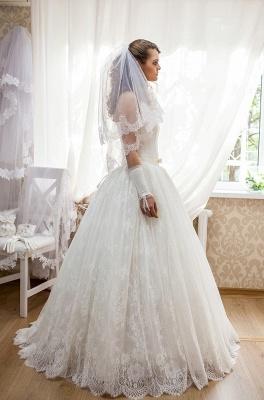 Elegant Strapless Lace Wedding Dress Sleeveless Lace-up Bridal Gown_2