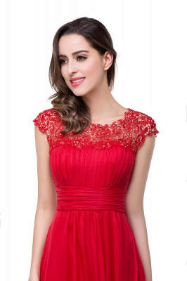 Newest Red Chiffon Lace Prom Dress UK Zipper Illusion Cap Sleeve_7