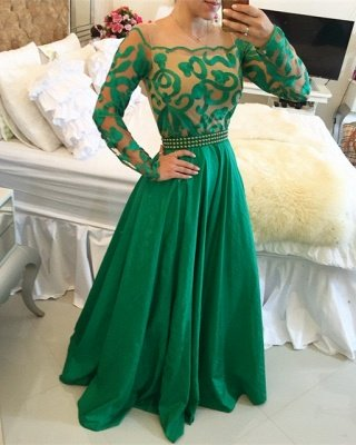 Beautiful Green Long Sleeve Prom Dress UK A-Line With Pearls BT0_1