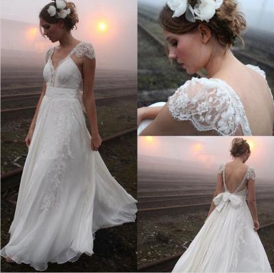Elegant Summer Beach Wedding Dresses UK Cap Sleeve Lace Long  Bridal Gowns_3