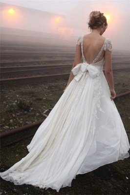 Elegant Summer Beach Wedding Dresses UK Cap Sleeve Lace Long  Bridal Gowns_4