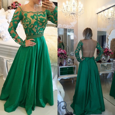Beautiful Green Long Sleeve Prom Dress UK A-Line With Pearls BT0_3