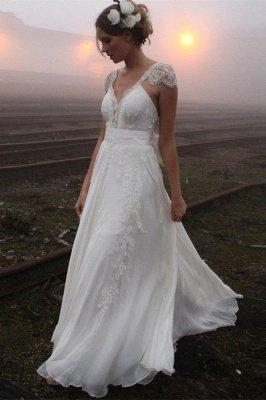 Elegant Summer Beach Wedding Dresses UK Cap Sleeve Lace Long  Bridal Gowns_2