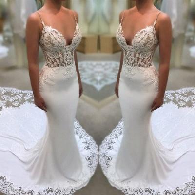 Elegant Spaghetti-Straps Wedding Dress | 2019 Lace Sexy Mermaid Bridal Gowns_3