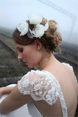 Elegant Summer Beach Wedding Dresses UK Cap Sleeve Lace Long  Bridal Gowns_5