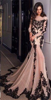 Gorgeous Long Sleeve Black Lace Evening Dress UK Mermaid Lace-up Back BA4265_1