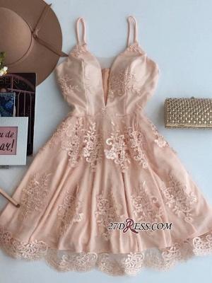Sleeveless Zipper Lace Spaghetti-Strap Short Cute Homecoming Dress UK_3