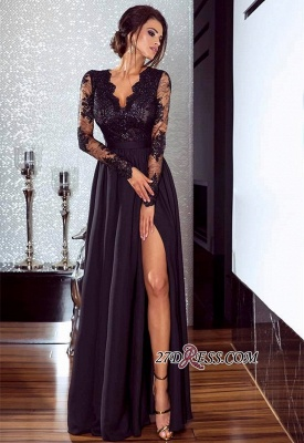Lace Long Prom Dress UK | Long Sleeve Evening Gowns With Split_3