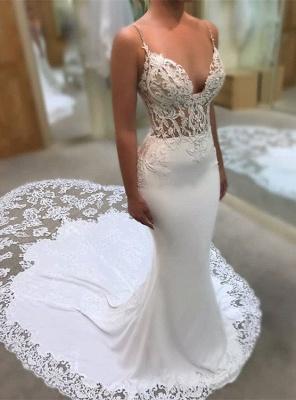 Elegant Spaghetti-Straps Wedding Dress | 2019 Lace Sexy Mermaid Bridal Gowns_1