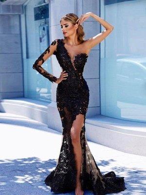 Modern Black Lace One-Shoulder Prom Dress UK   Front Split Evening Gown BA9571_1