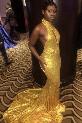 High-Neck Yellow Prom Dress UK | Mermaid Sequins Evening Gowns BK0_3
