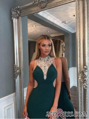 Mermaid Luxury Crystal High-Neck Front-Split Zipper Prom Dress UK_3