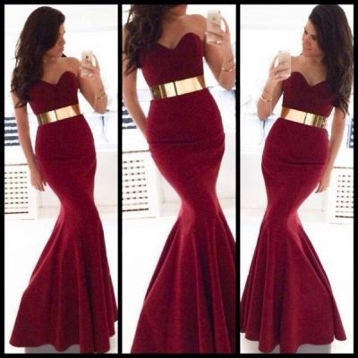 Elegant Sweetheart Sleeveless Mermaid Prom Dress UK With Golden Sash_2