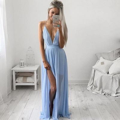 Sexy V-Neck Long Prom Dress UK Chiffon Floor Length_3