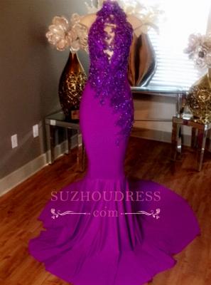 Mermaid Sleeveless Prom Dress UK Lace-Appliques Evening Dress UKes UK Beaded High-Neck Court Train CC0009_1