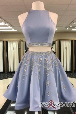 Short Crystal Two-Pieces A-line Sleeveless Luxury Homecoming Dress UK_2