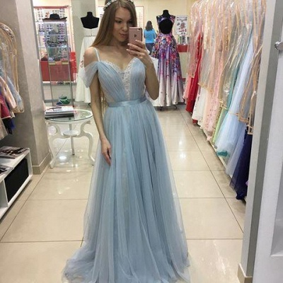 A-line Beautiful Straps Cap-Sleeves Sweep-train Tulle Prom Dress UK_2