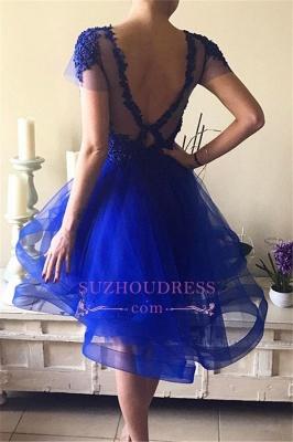 Short-Sleeves Royal-Blue Appliques A-line Beadings Homecoming Dress UKes UK BA7609_1