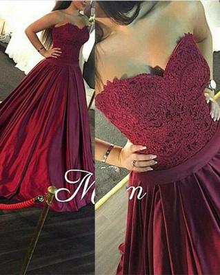 Luxury Sweetheart Lace prom Dress UK Burgundy Floor Length_1