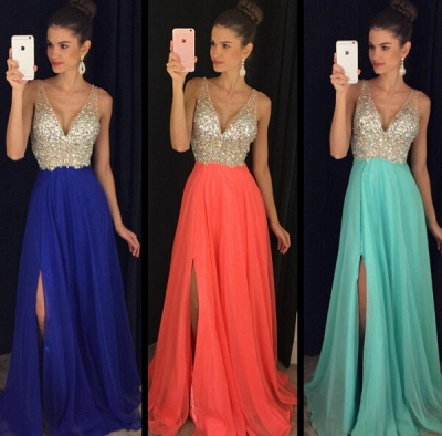Sexy V-Neck Sleeveless crystal Prom Dress UKes UK Long chiffon Online TD055 AP0_2