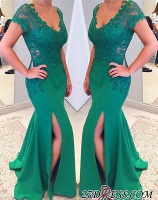 Sleeves Lace Mermaid Green V-neckline Applique Short Prom Dress UK_3