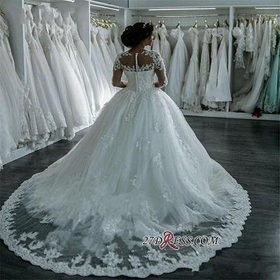 Ball-Gown Beaded Lace Sheer Long-Sleeves Wedding Dresses UK BA4150_2