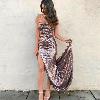 Elegant Strapless Sequins Mermaid Prom Dress UK Front Split On Sale_3