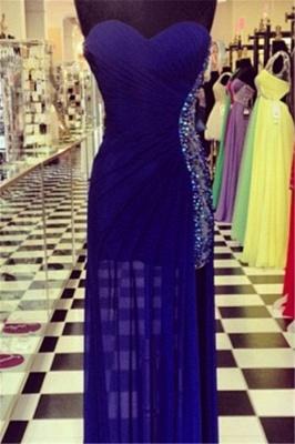 Elegant Navy Blue Sweetheart Prom Dress UKes UK Beadings Long Chiffon Party Gowns_1