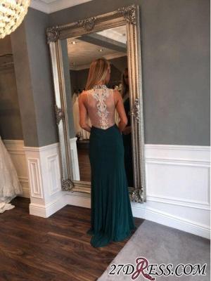 Mermaid Luxury Crystal High-Neck Front-Split Zipper Prom Dress UK_1