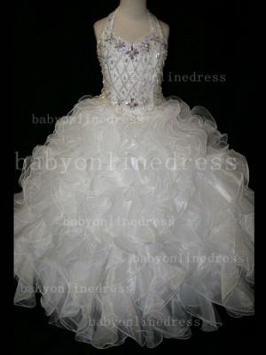Newbron Beauty Cheap Girls Pageant Dresses Rhinestone Flower Girls Beaded Party Dresses on Sale_6