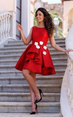 Short Sleeveless Red Elegant Flowers Homecoming Dress UK_1
