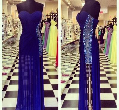 Elegant Navy Blue Sweetheart Prom Dress UKes UK Beadings Long Chiffon Party Gowns_3