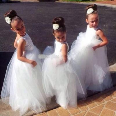 Lovely Tulle Princess Jewel Flower Girl Dress Floor-length_2