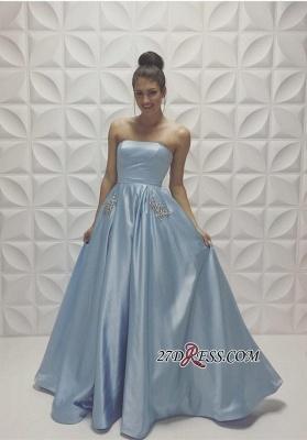 Beads Strapless Sleeveless Baby-Blue A-line Newest Prom Dress UK_1