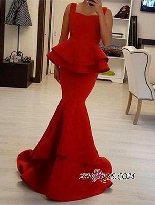 Straps Square Elegant Ruffles Mermaid Red Prom Dress UK BA4149_2