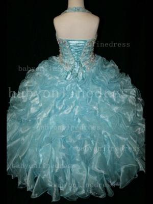 Newbron Beauty Cheap Girls Pageant Dresses Rhinestone Flower Girls Beaded Party Dresses on Sale_2