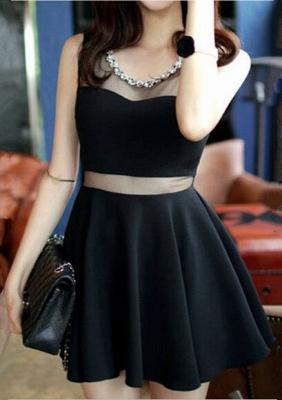 Elegant Black Two Piece Homecoming Dress UK Beading Mini Sleeveless_4