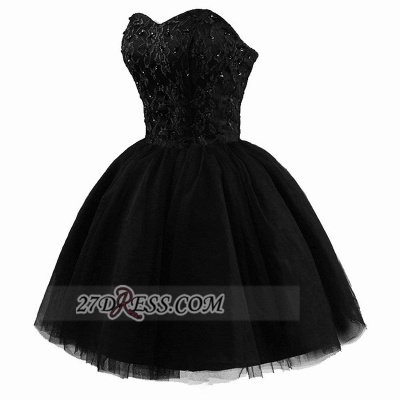 Modern Sweetheart Sleeveless Black Cocktail Dress UK Lace-up Beading Sequins Ball Gown Short Homecoming Gown_3