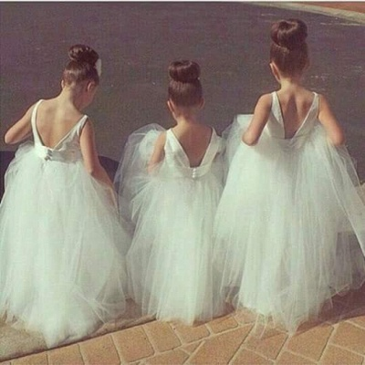 Lovely Tulle Princess Jewel Flower Girl Dress Floor-length_3