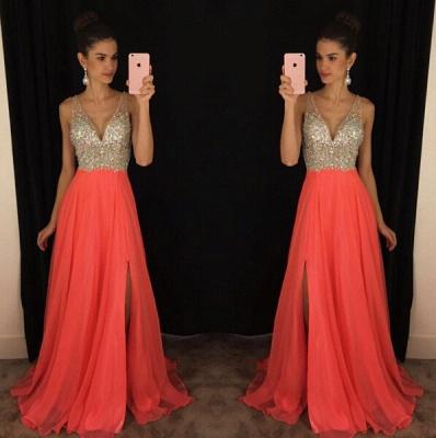 Sexy V-Neck Sleeveless crystal Prom Dress UKes UK Long chiffon Online TD055 AP0_3