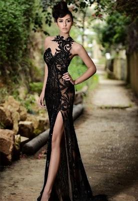 Elegant Black Prom Dress UK| Mermaid Evening Dress UK With Slit_1