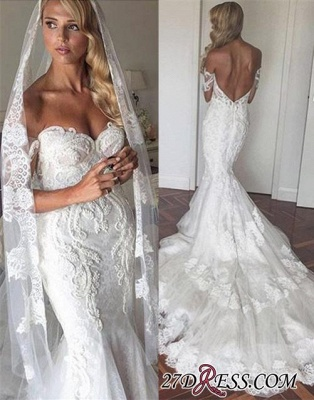 Tiered Backless Tulle Off-the-Shoulder Sexy Mermaid Appliques Elegant Wedding Dress_2