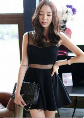 Elegant Black Two Piece Homecoming Dress UK Beading Mini Sleeveless_1