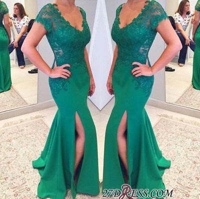 Sleeves Lace Mermaid Green V-neckline Applique Short Prom Dress UK_2