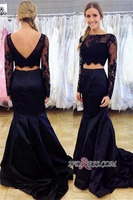 Open-Back Black Two-Piece Lace Mermaid Long-Sleeve Bateau Prom Dress UK_1