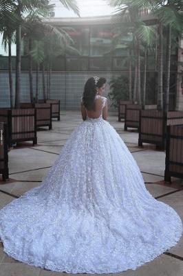 Elegant Cap Sleeve Lace Wedding Dresses UK Ball Gown With Train  BA3022_3