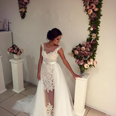 Gorgeous Lace Tulle Wedding Dress Removal Train Cap Sleeve Illusion_4
